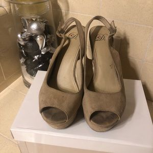 Cream suede Wedges